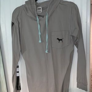 VS PINK grey pullover long sleeve with hood